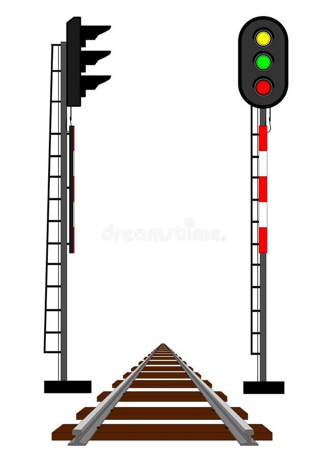 Rail semaphores. Electrical rail semaphores and rail royalty free illustration