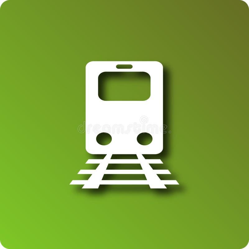 Rail system. Rail icon on green background stock illustration