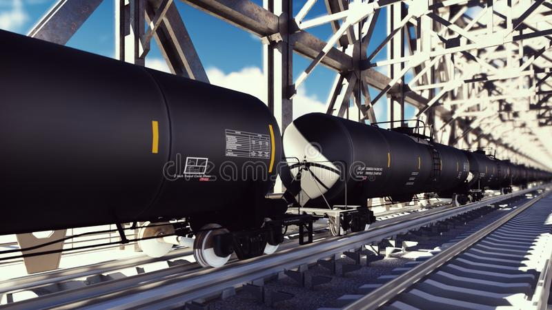 Rail tank cars with oil on the rails at sunrise. Train transportation of tankers. The container of the liquid fuel oil stock illustration