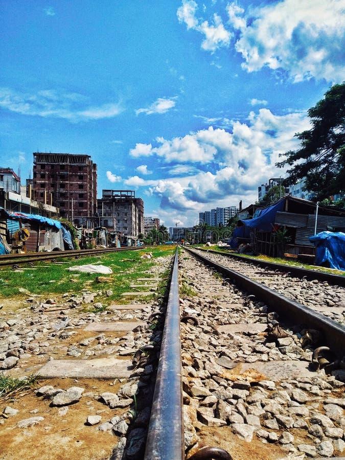 Rail track fabrication. Sky, clouds, symmetry, tracks, stones, bangladesh, uttara, dhala, dhaka, summer, winter stock photography