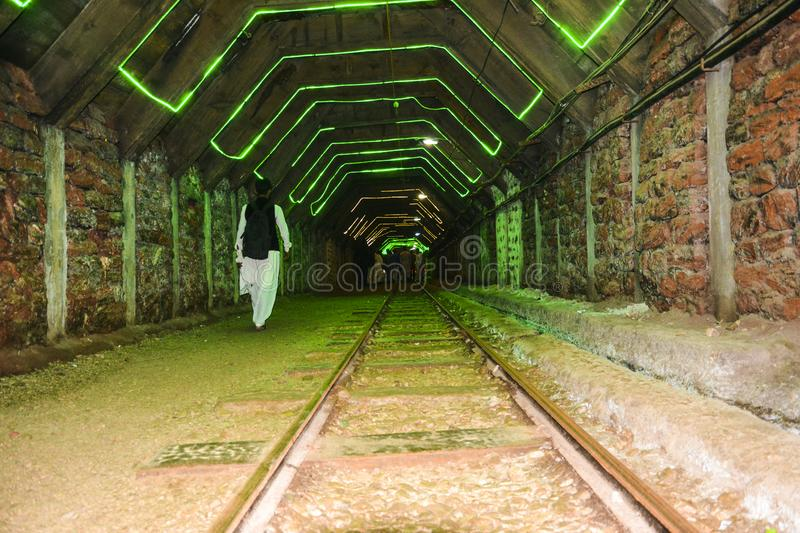 Rail track inside Khewra salt mine royalty free stock photos