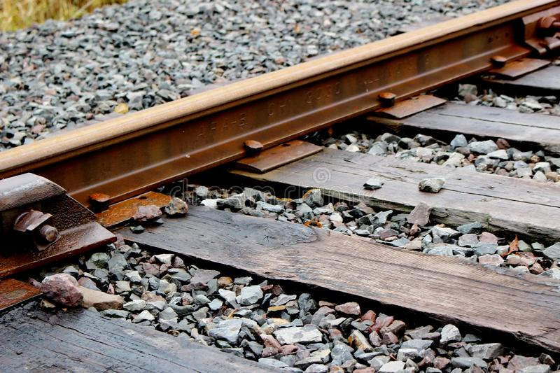 Rail track on softwood timbers, Battle Ground, WA, USA royalty free stock image