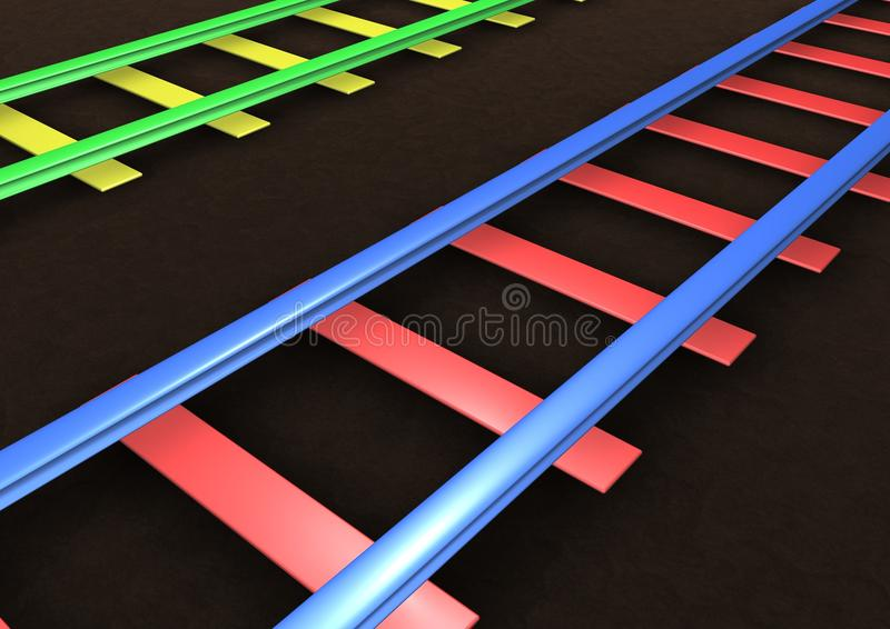 Rail Tracks. Computer Generated Rail Tracks for background royalty free illustration