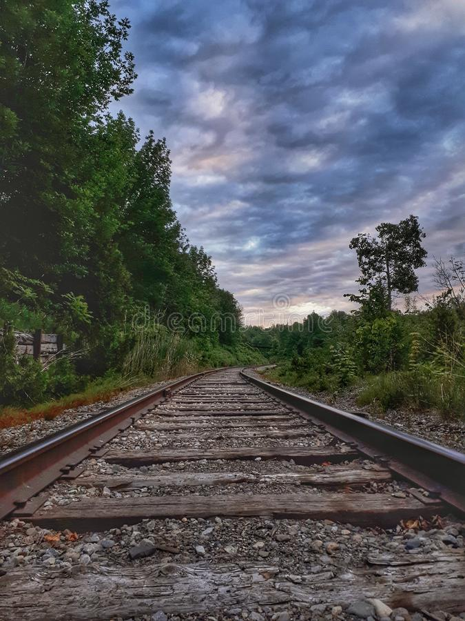 Rail Tracks Through The Countryside royalty free stock photography