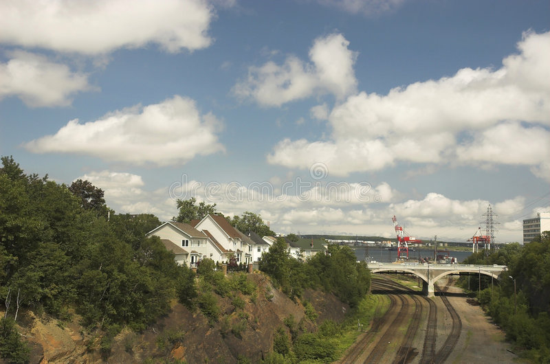 Rail tracks lead to shipping yard in Halifax royalty free stock photos