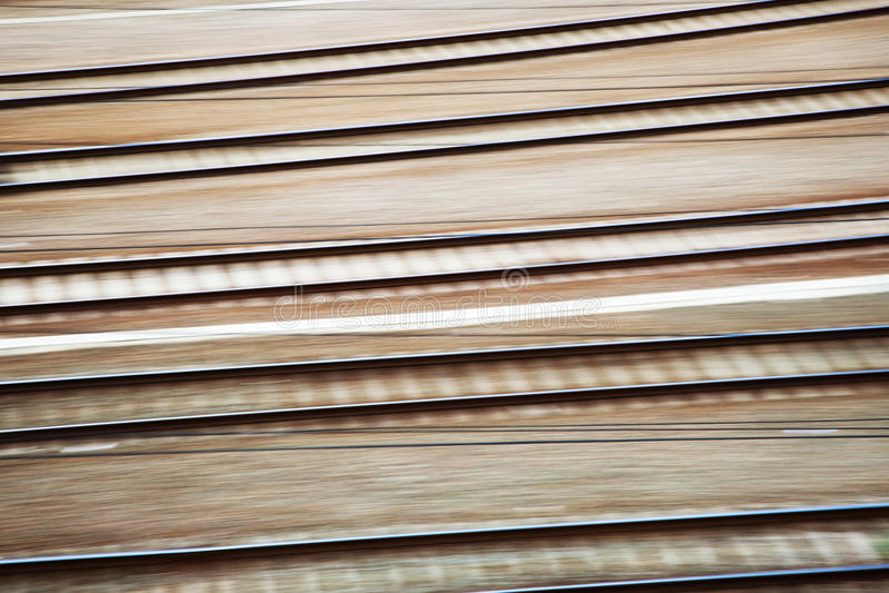 Rail Tracks In Motion Blur Stock Image