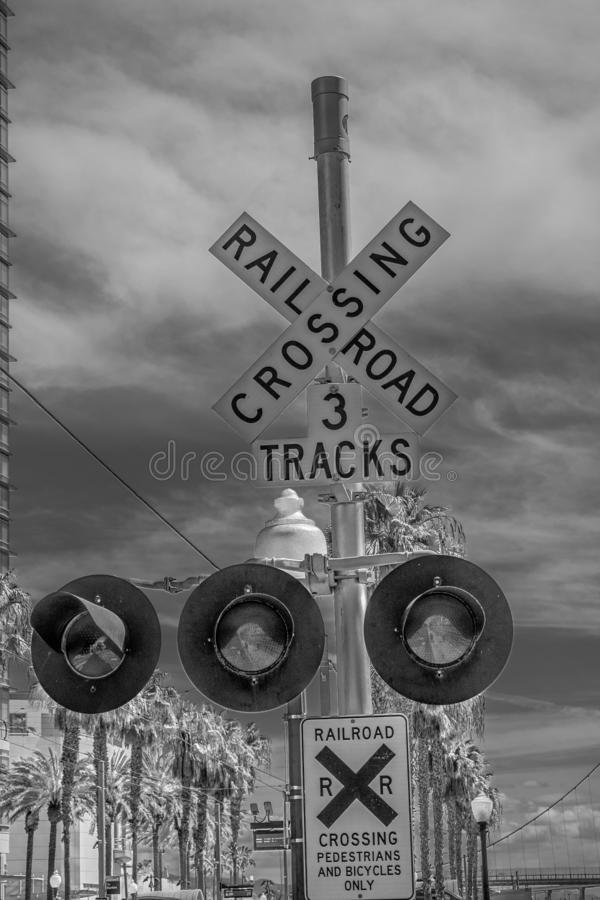 Rail tracks at San Diego Convention Center - CALIFORNIA, USA - MARCH 18, 2019 royalty free stock image