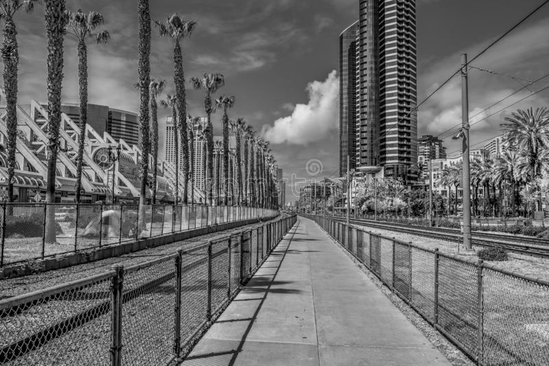 Rail tracks at San Diego Convention Center - CALIFORNIA, USA - MARCH 18, 2019 royalty free stock photo