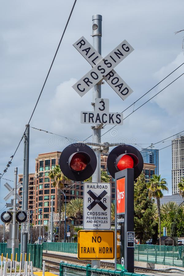 Rail tracks at San Diego Convention Center - CALIFORNIA, USA - MARCH 18, 2019 royalty free stock photography
