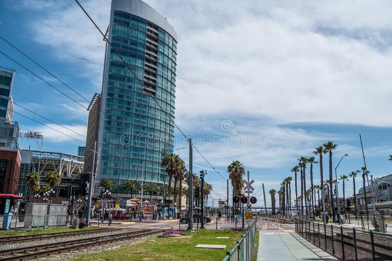 Rail tracks at San Diego Convention Center - CALIFORNIA, USA - MARCH 18, 2019 royalty free stock photos