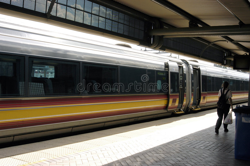 Rail train. Rail train at the station stock photo