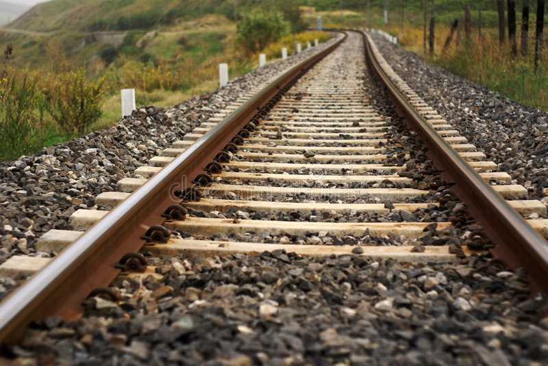 Rail train curve. Rail-train infrastructure in countryside stock images