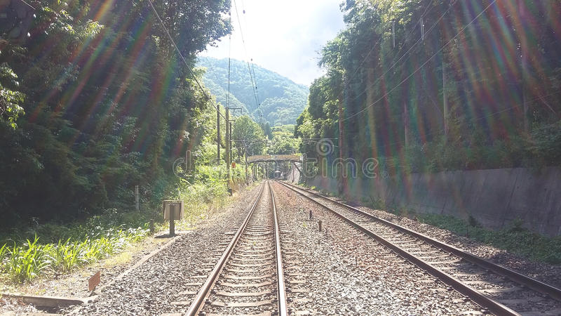 Rail train. Rail-train infrastructure in countryside stock photography