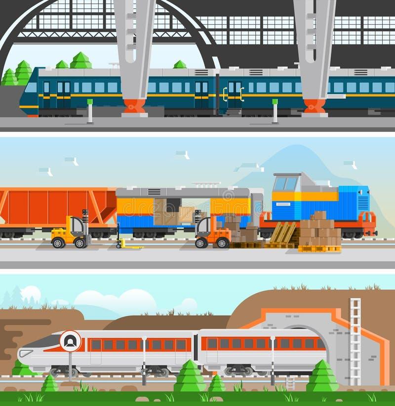 Rail Transport Horizontal Flat Banners stock illustration