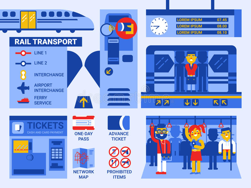 Rail Transport. Illustration of rail transportation infographic elements and icons royalty free illustration
