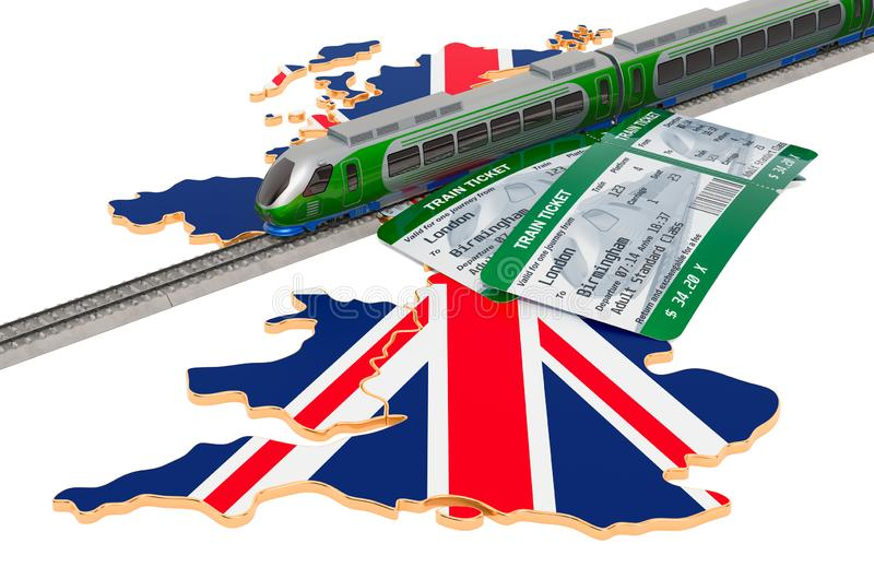 Rail travel in  the United Kingdom, concept. 3D rendering. Train travel in the United Kingdom, concept. 3D rendering isolated on white background stock illustration