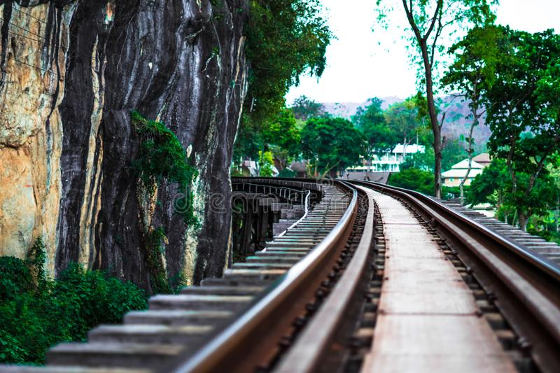 The rail way station it is oldest. And the trees green color royalty free stock image