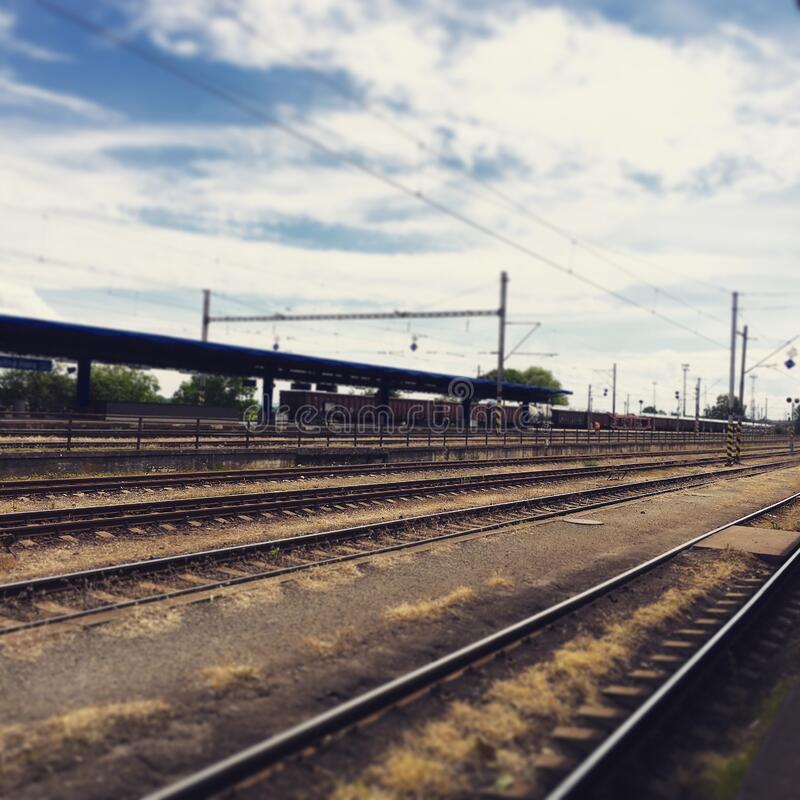 Download Rail Way Under Cloudy Sky stock image. Image of photo - 82950497