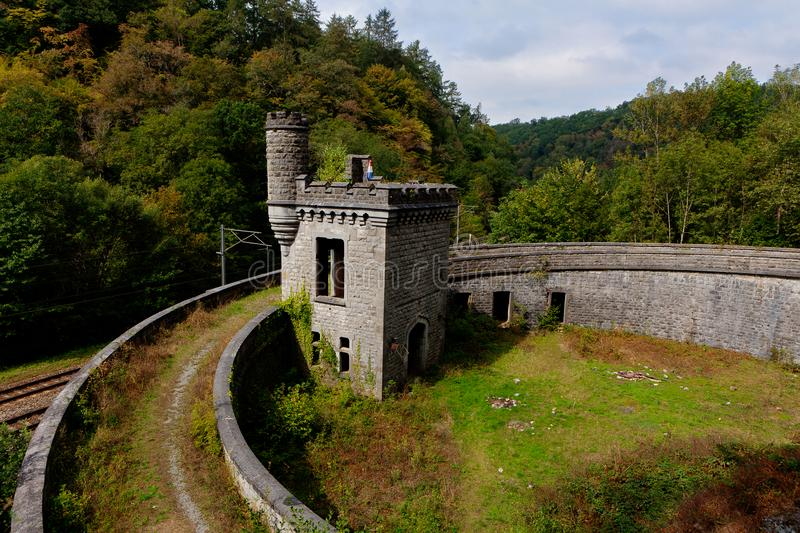 Ruins railway station Station Château Royal d`Ardenne, Houyet, Belgium stock photo