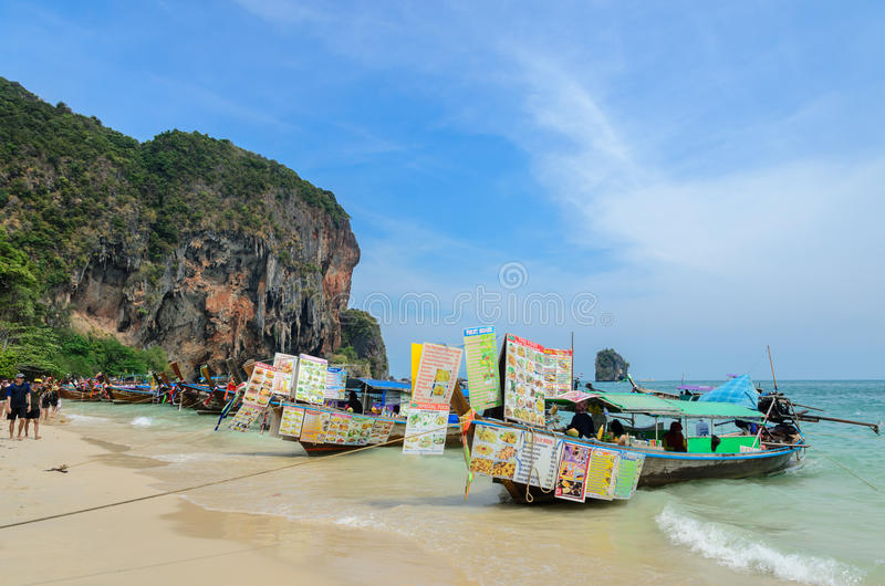 Railay beach with high limestone cliffs in Krabi province, Thailand. stock image