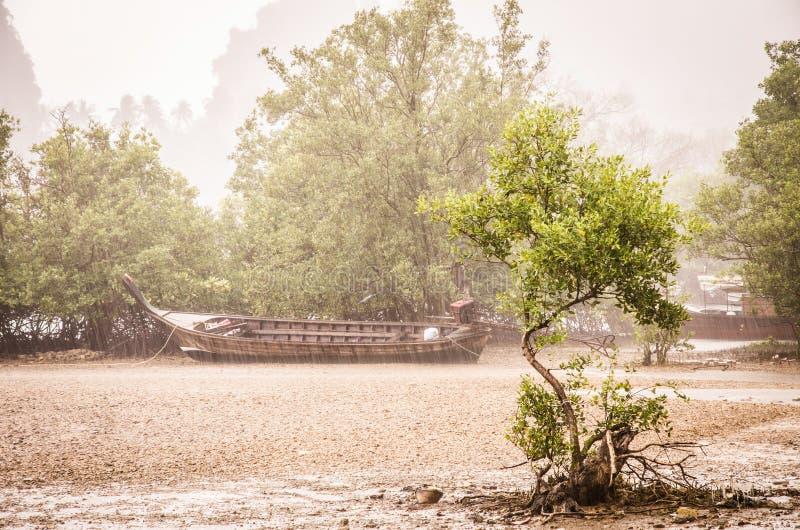 Railay Beach under a tropical rain - Ao Anng, Thailand royalty free stock images