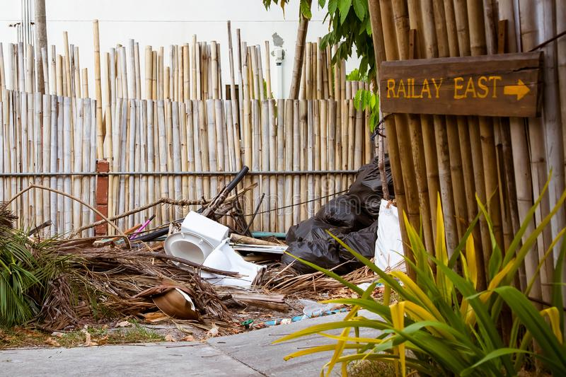 Railay, Krabi Province, Thailand - February 17, 2019: Garbage and other waste on the streets of the Railay Peninsula. The toilet royalty free stock photography