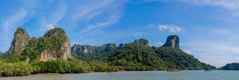 Limestone rock formation cliffs at Rai Lay beach, Thailand stock images