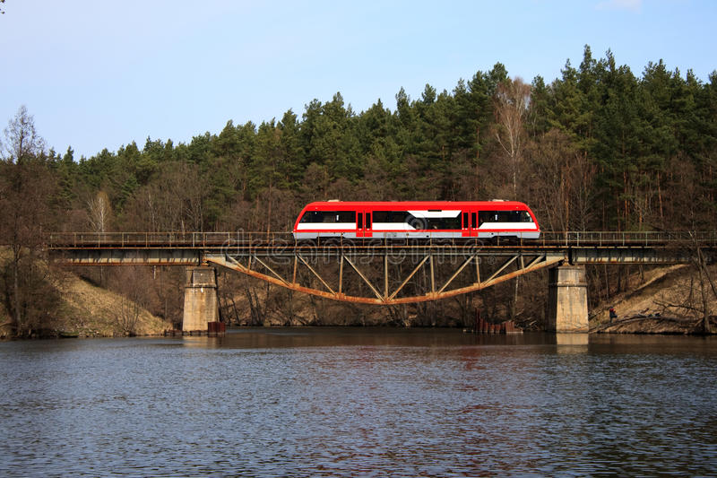 Railbus on the bridge stock photography