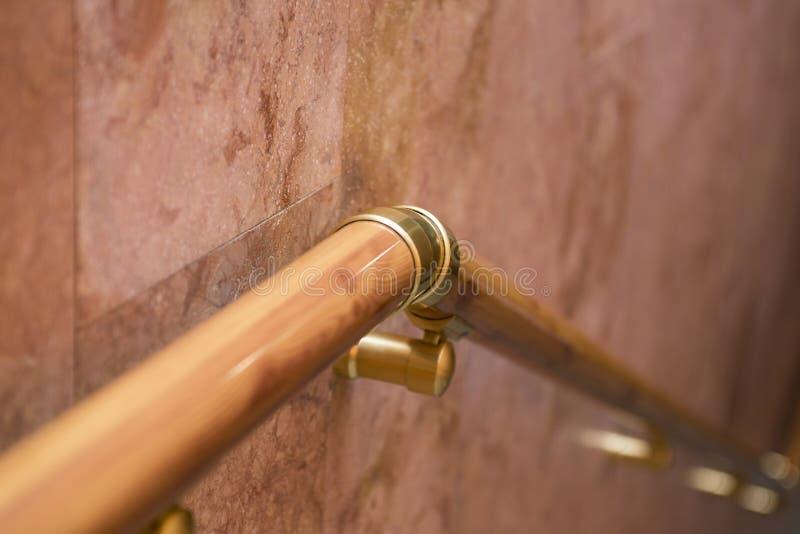 Railing, banister, pretty banister. Wood line rail. Handrail royalty free stock images