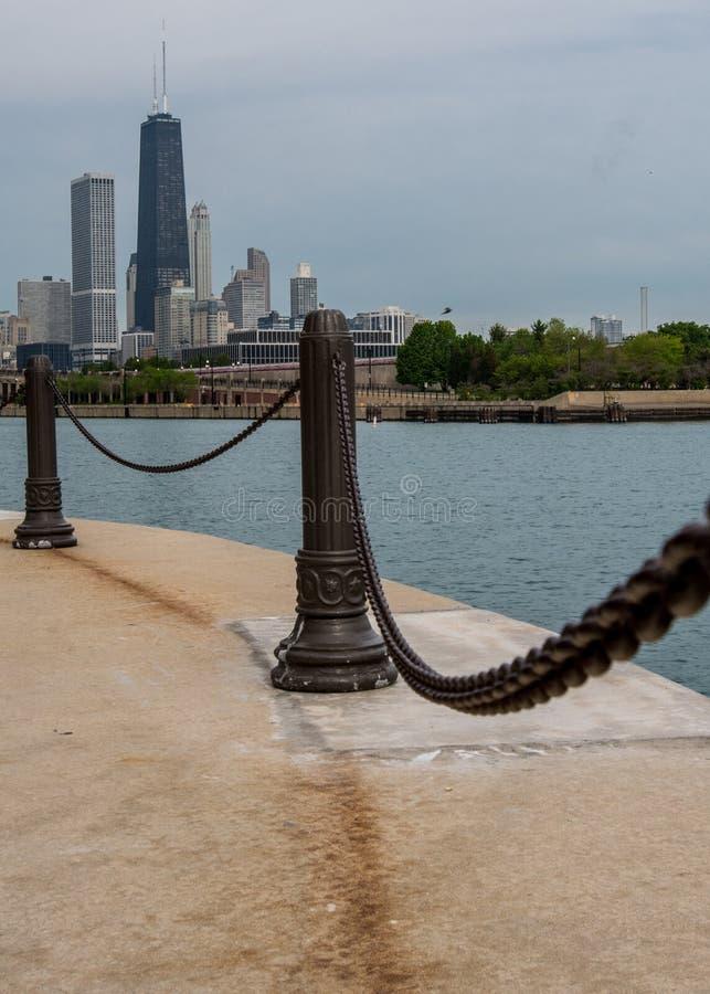 Railing Post on Navy Pier stock image