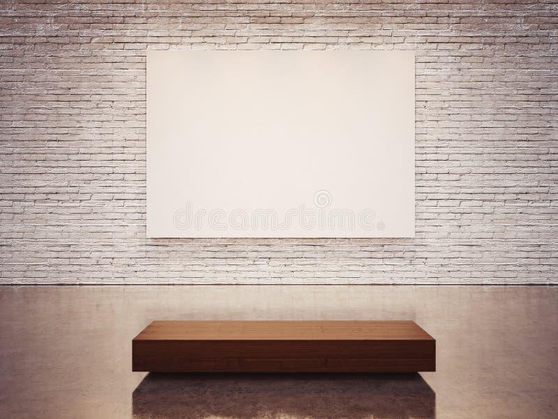 Raillez de la toile vide et du mur blanc 3d rendent photographie stock libre de droits