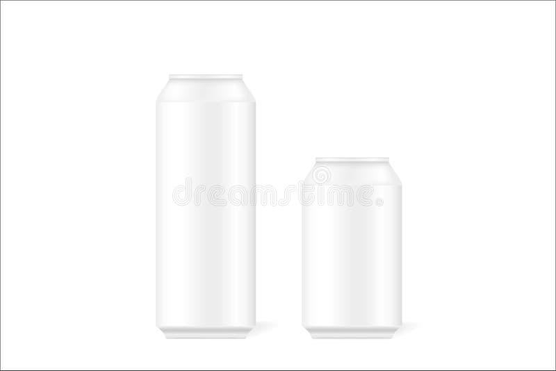 Raillez des boîtes 3d en fer blanc réalistes pour la bière, alcool, boissons carbonatées, boissons non alcoolisées, kola, boisson illustration de vecteur