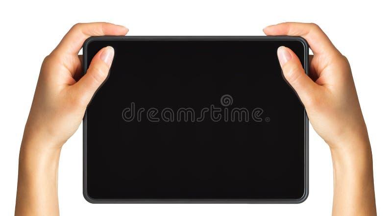 Raillez du comprimé noir et de la main des femmes, concept des achats mobiles photographie stock libre de droits