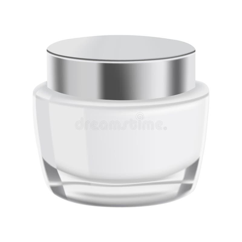 Raillez, le pot en verre de calibre avec de la crème pour la conception illustration stock