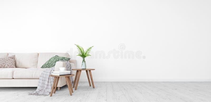 Raillez, salon moderne, conception intérieure avec l'espace libre sur 3D droit rendent illustration libre de droits