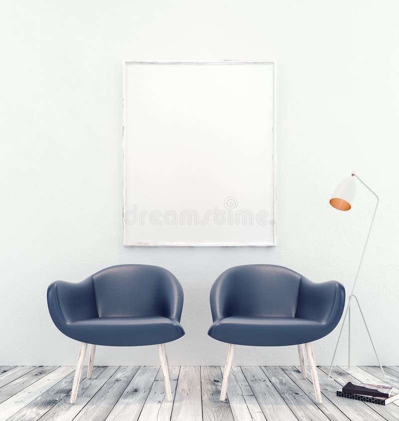 Raillez vers le haut d'intérieur avec le cadre de tableau blanc et deux fauteuils bleus illustration stock