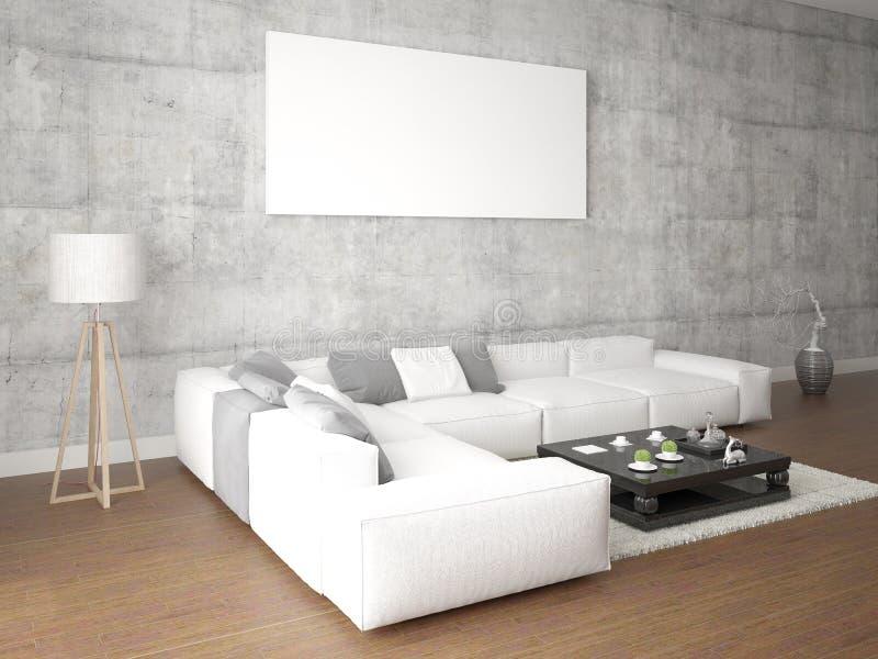 Raillez vers le haut d'un salon élégant avec un grand sofa lumineux illustration libre de droits