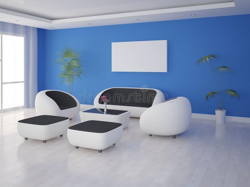 Raillez vers le haut d'un salon élégant avec les meubles de pointe illustration de vecteur
