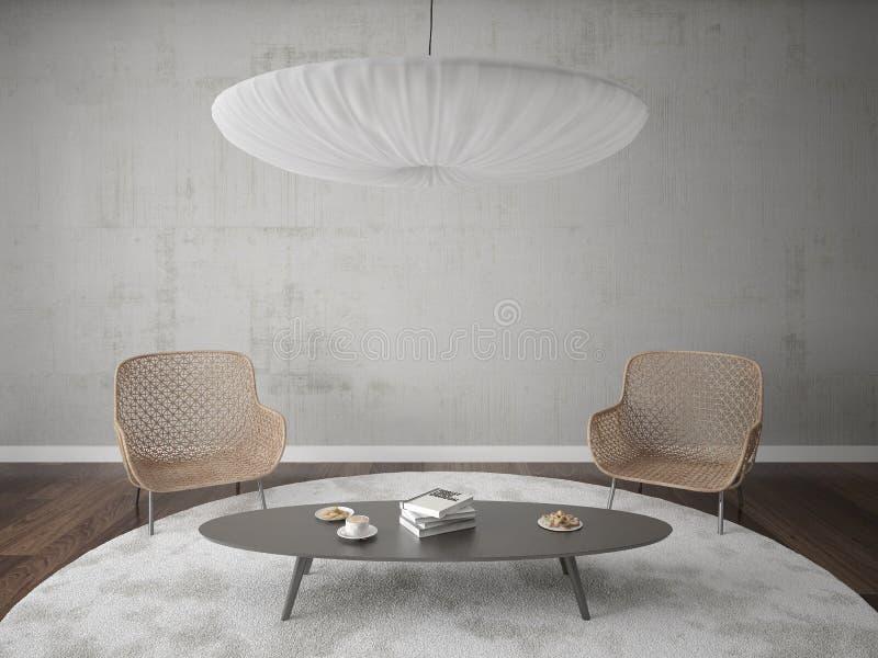 Raillez vers le haut d'un salon lumineux avec deux fauteuils élégants illustration de vecteur