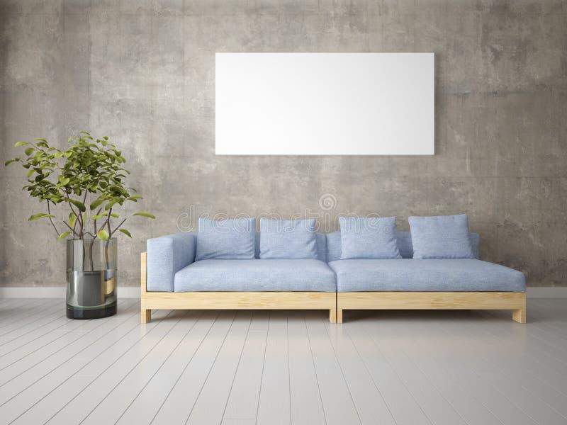 Raillez vers le haut d'un salon lumineux avec un sofa confortable gris illustration libre de droits