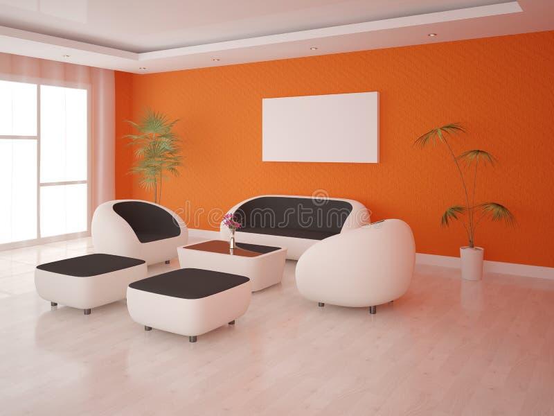 Raillez vers le haut d'un salon moderne avec des fauteuils élégants et un sofa illustration stock