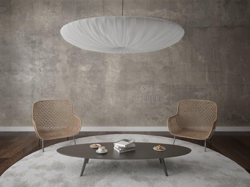 Raillez vers le haut d'un salon moderne avec deux fauteuils confortables illustration de vecteur