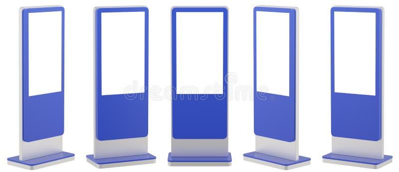 Raillez vers le haut de cinq affichages noirs de l'information Supports de bannière dans votre conception rendu 3d illustration de vecteur
