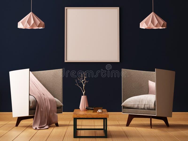 Raillez vers le haut de l'affiche à l'intérieur d'un salon avec des fauteuils et des lampes 3d l'illustration 3d rendent illustration stock