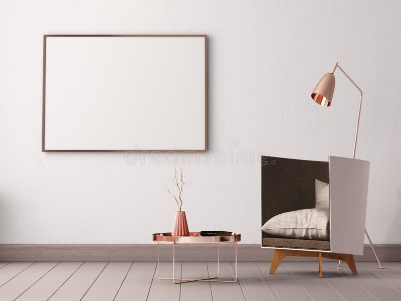 Raillez vers le haut de l'affiche à l'intérieur d'un salon avec des fauteuils et des lampes 3d l'illustration 3d rendent illustration libre de droits