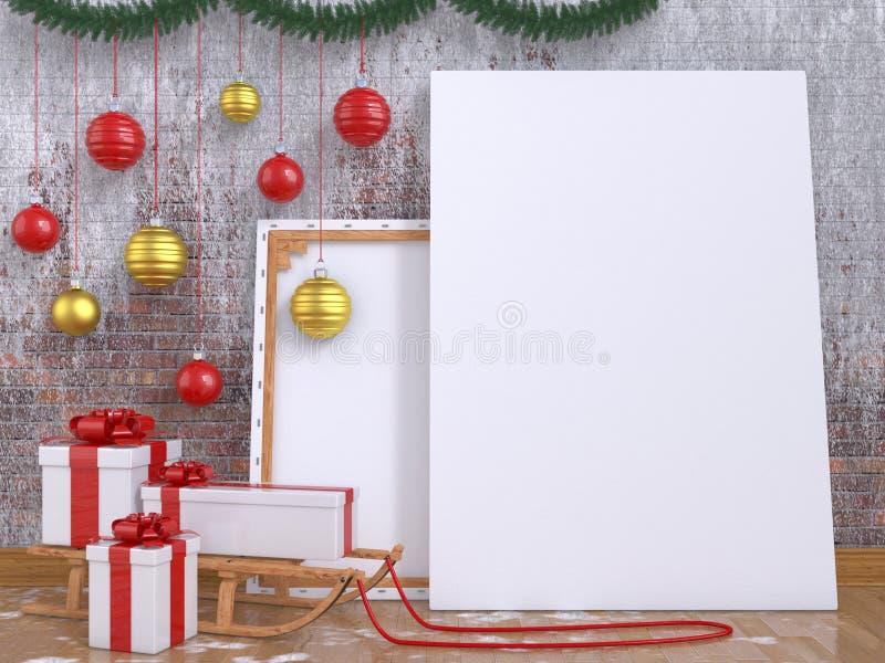 Raillez vers le haut de l'affiche avec le traîneau, la boule de Noël et les présents en bois illustration stock