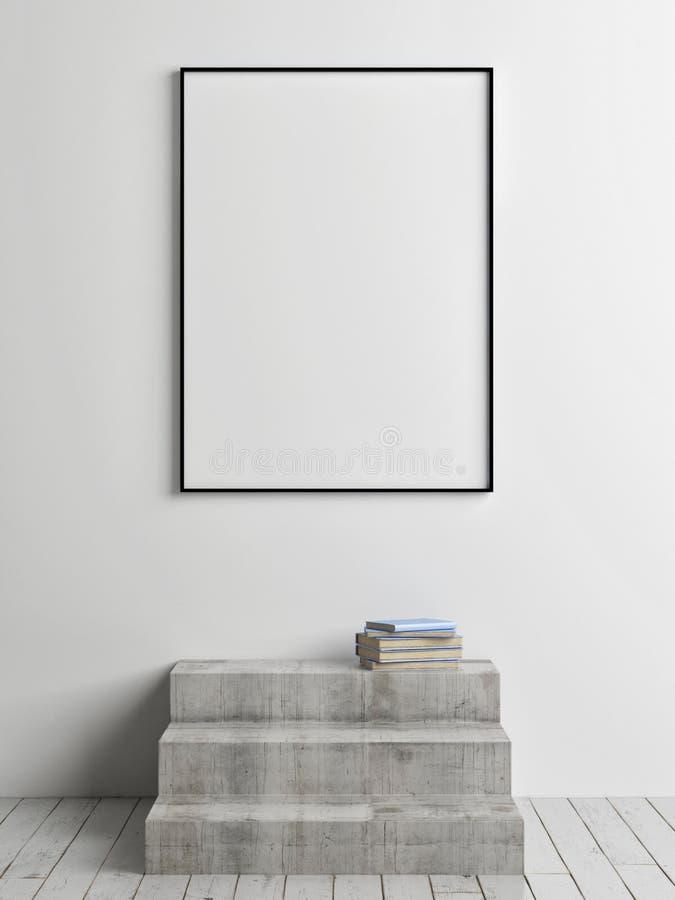 Raillez vers le haut de l'affiche avec les escaliers concrets, l'espace d'exposition, illustration de vecteur