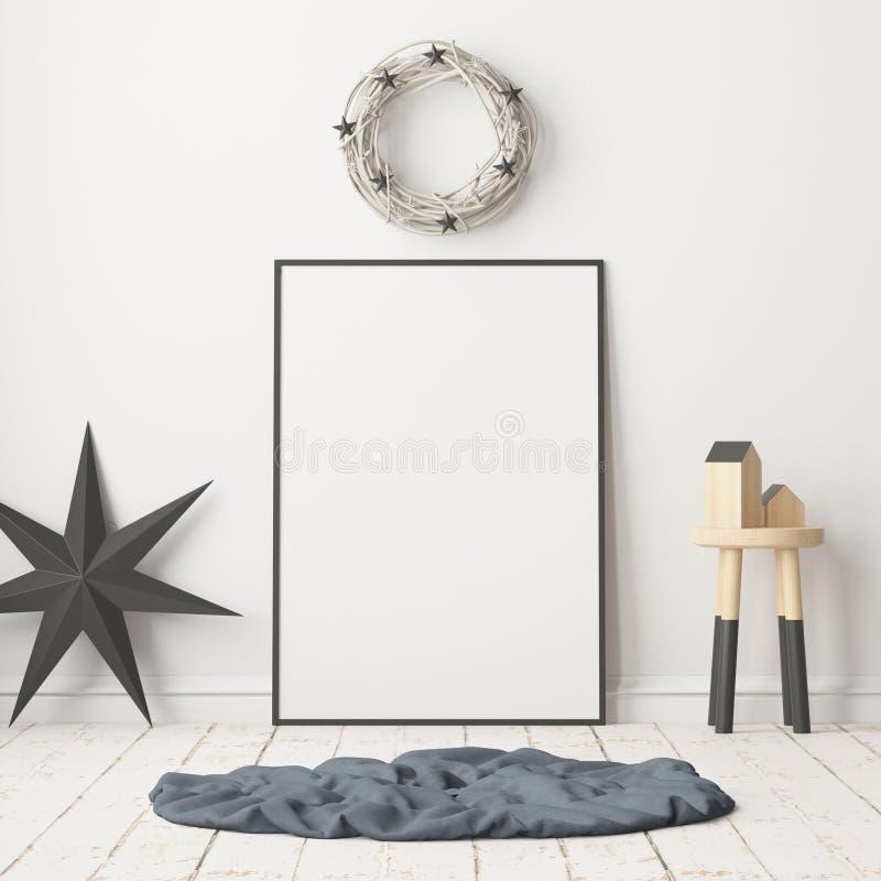 Raillez vers le haut de l'affiche dans l'intérieur de Noël dans le style scandinave rendu 3d illustration de vecteur