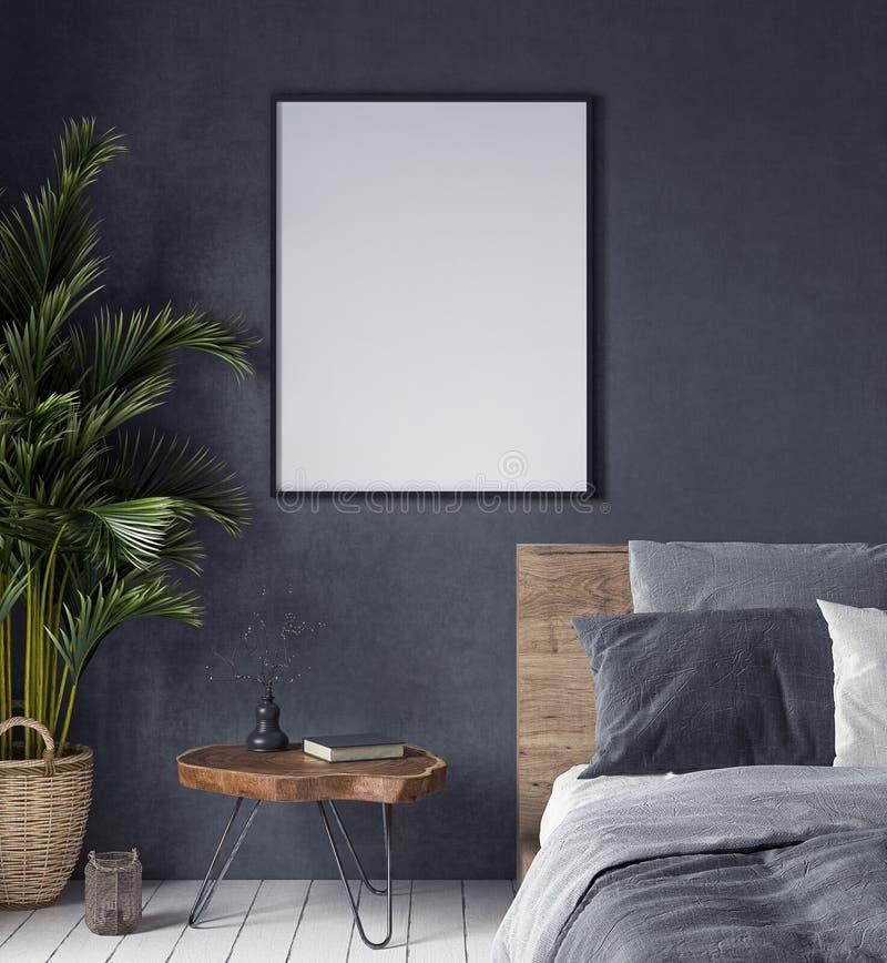 Raillez vers le haut de l'affiche dans la chambre à coucher intérieure, style ethnique photographie stock