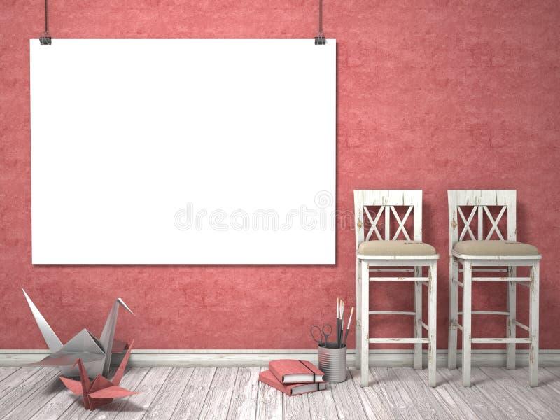 Raillez vers le haut de l'affiche, des chaises blanches en bois, et des grues d'origami, 3D illustration stock